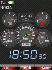 speedometer live with clock & battery Nokia C1-01 themes free